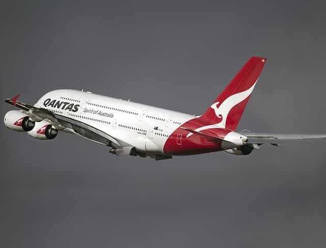 QANTAS plane plane flying away